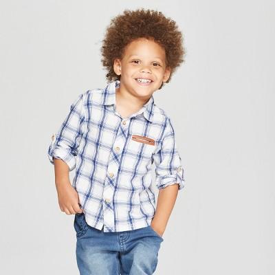 Genuine Kids® from Oshkosh Toddler Boys' Plaid Long Sleeve Button-Down Shirt - Blue 12M