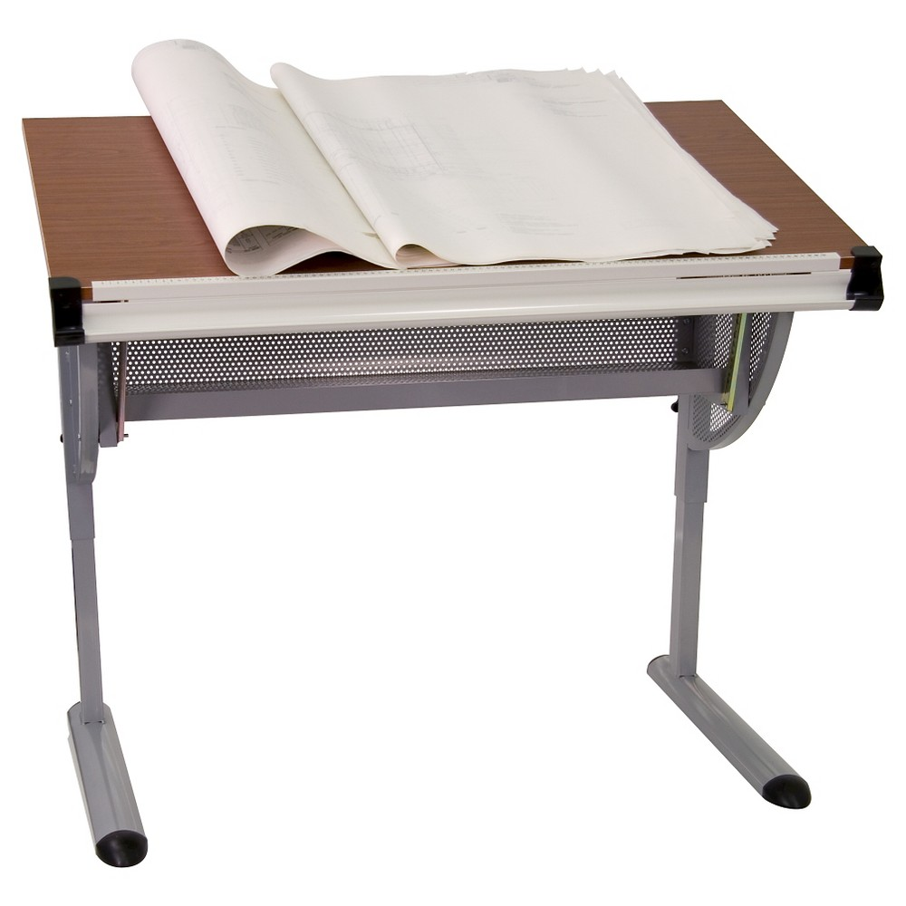 Adjustable Drawing and Drafting Table with Pewter Frame - Flash Furniture, Silver