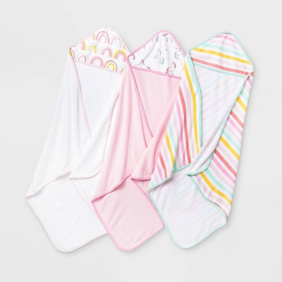 Baby Girls' 3pk Unicorn Adventure Hooded Bath Towel - Cloud Island™ Pink