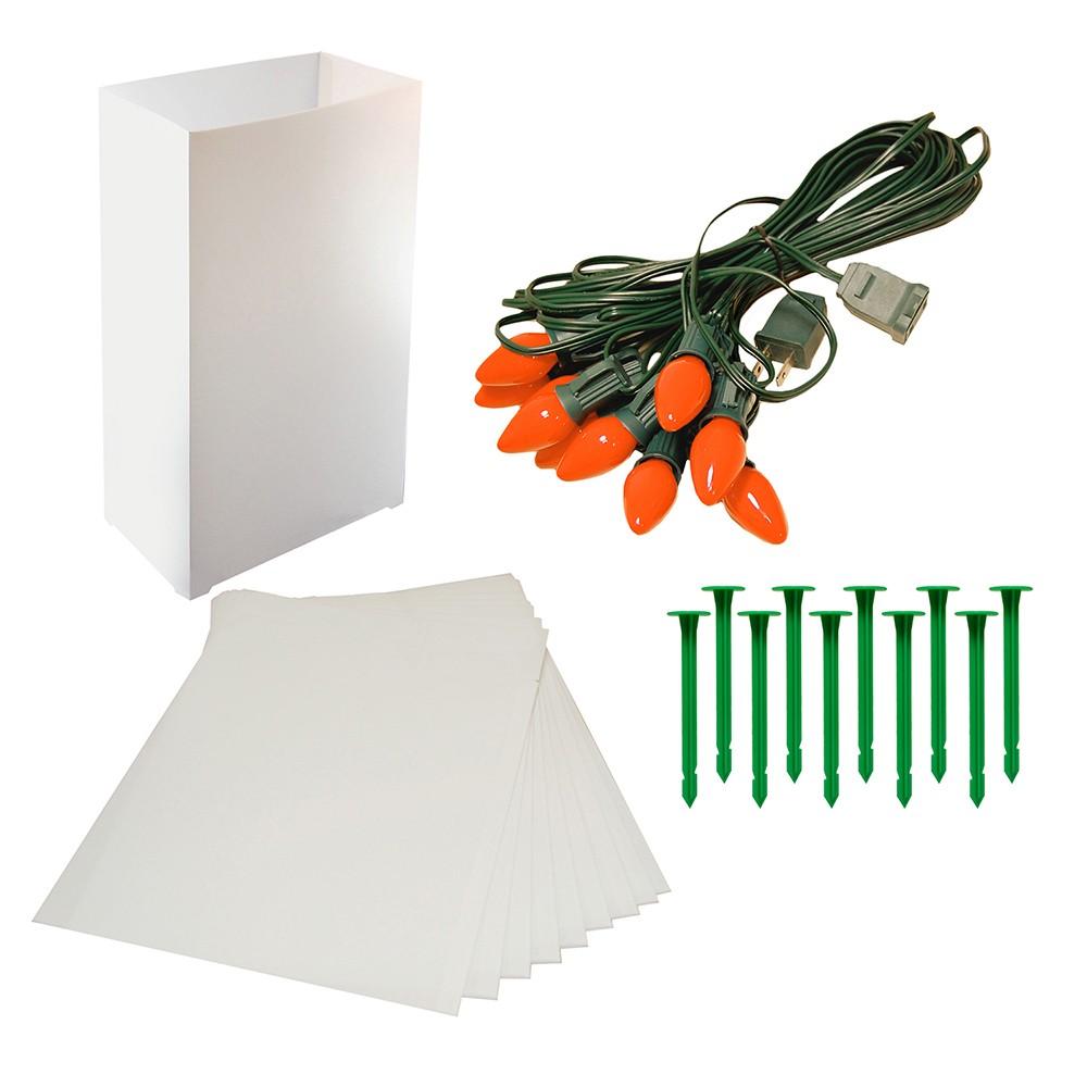 Image of 10ct Orange Electric Luminaria Kit