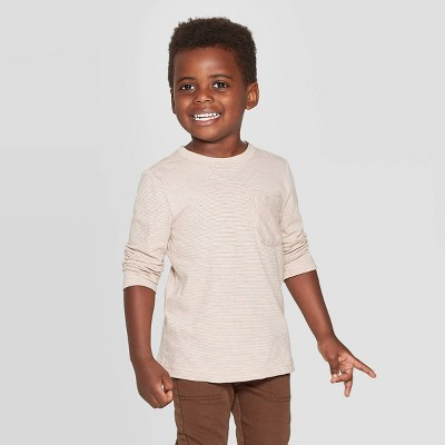Toddler Boys' Long Sleeve T-Shirt - Cat & Jack™ Brown 12M
