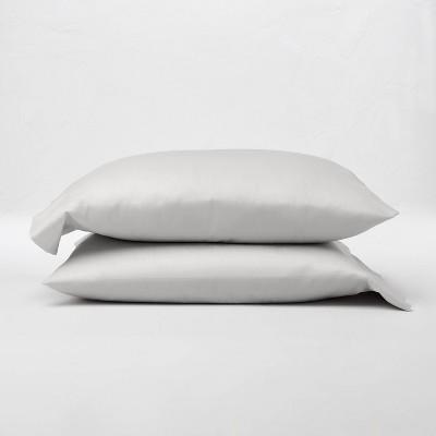 King 300 Thread Count Temperature Regulating Solid Pillowcase Set Light Gray - Casaluna™