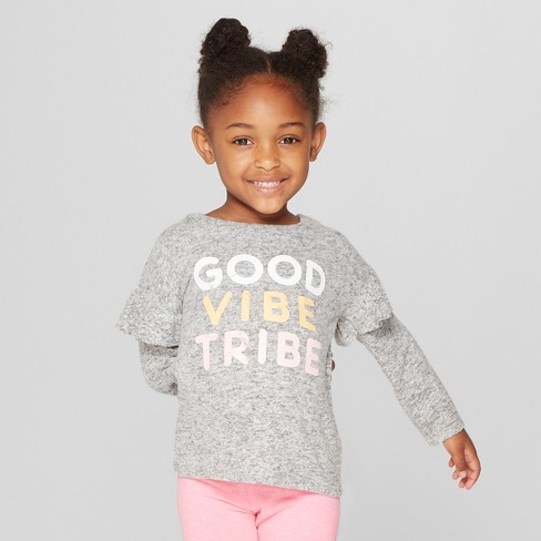 Grayson Mini Toddler Girls' Ruffle Long Sleeve T-Shirt - Gray - image 1 of 3