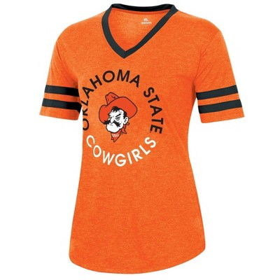 NCAA Oklahoma State Cowboys Women's Short Sleeve V-Neck Heathered T-Shirt