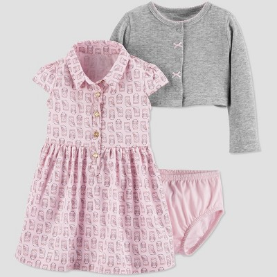 Baby Girls' 3pc Owl Dress Set - Just One You® made by carter's Pink 9M