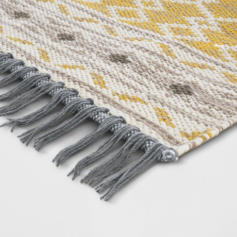 Yellow Abstract Woven Accent Rug With Gray Fringe 2 6 X4 Threshold Target