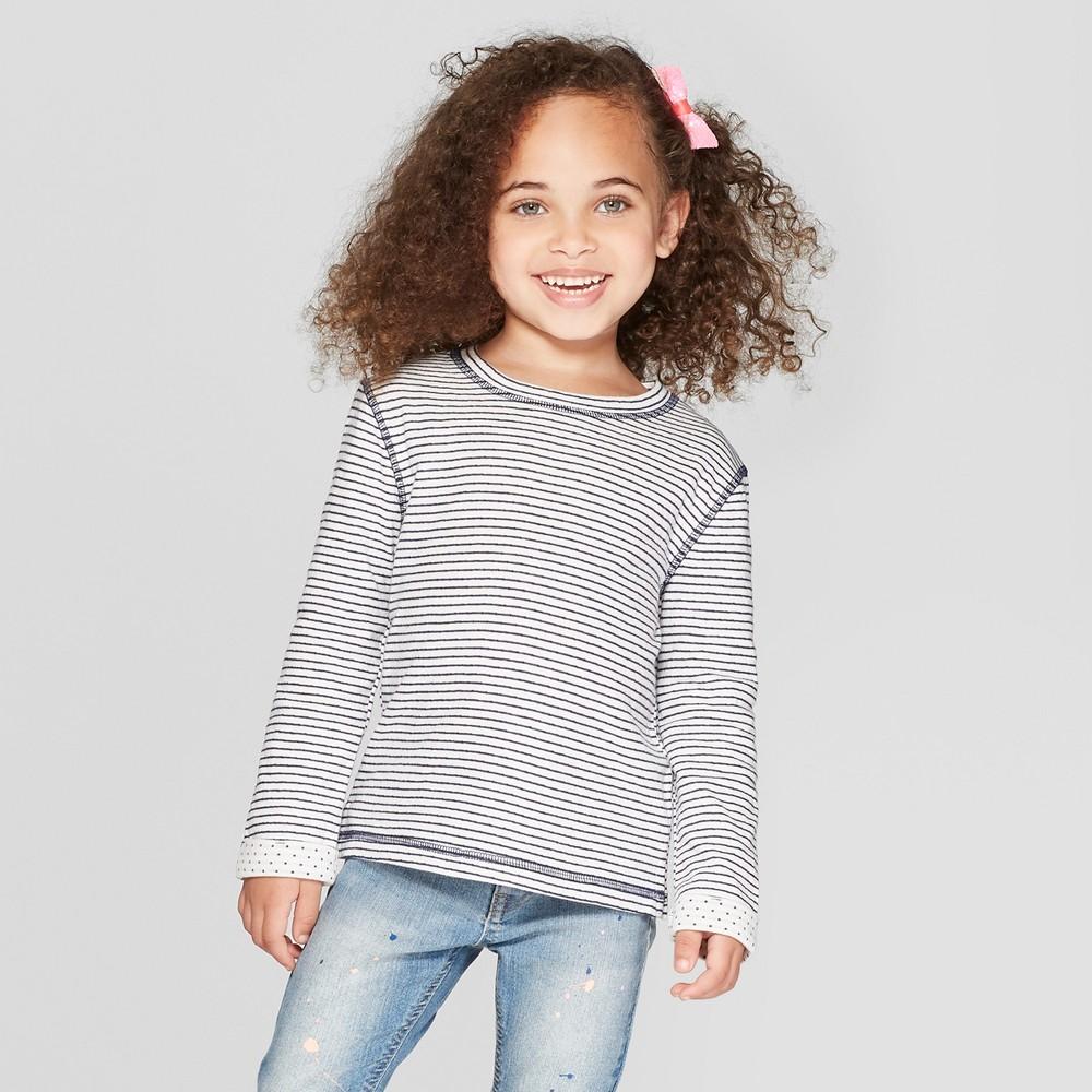 Toddler Girls' Long Sleeve Striped T-Shirt - Cat & Jack Blue 18M