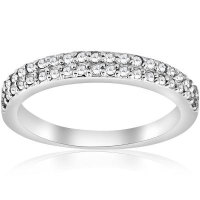 Pompeii3 1/4ct Double Row Diamond Ring 14K White Gold