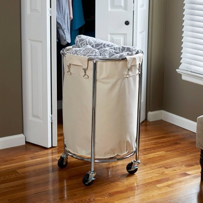 Household Essentials Round Laundry Hamper with Removable Bags White