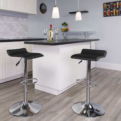 Flash Furniture Contemporary Vinyl Adjustable Height Barstool with Solid Wave Seat and Chrome Base