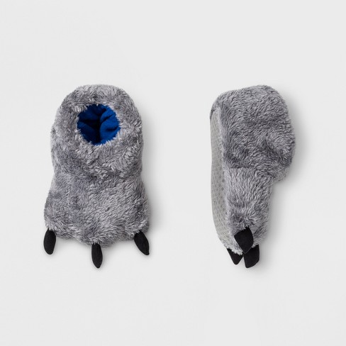 Baby Girls' Plush Paw Bootie Slippers - Cat & Jack™ Gray 12-18M - image 1 of 1