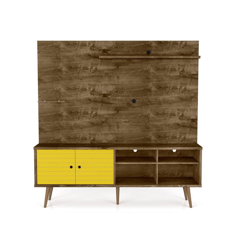 70.87 Liberty Freestanding Entertainment Center with Overhead Shelf Rustic Brown/Yellow - Manhattan Comfort