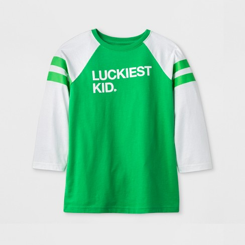 Kids' 3/4 Sleeve 'Luckiest Kid' Baseball T-Shirt - Cat & Jack™ Green - image 1 of 1
