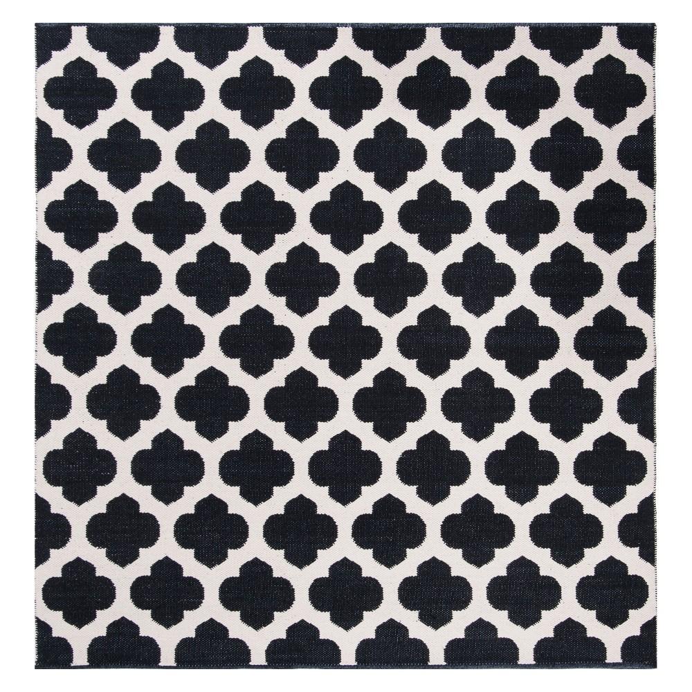 6'X6' Quatrefoil Design Woven Square Area Rug Black/Ivory - Safavieh