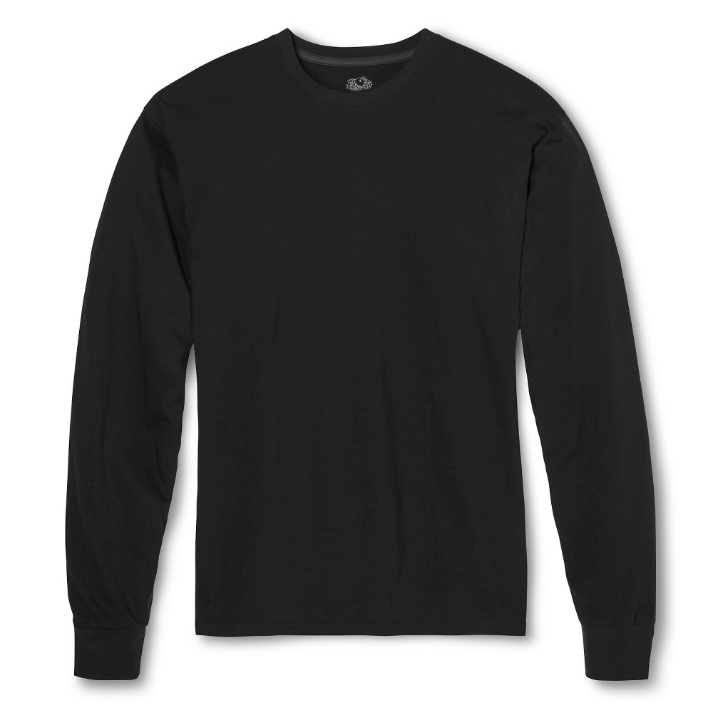 Men's Fruit of the Loom Long Sleeve T-Shirt Black -S, Size: Small