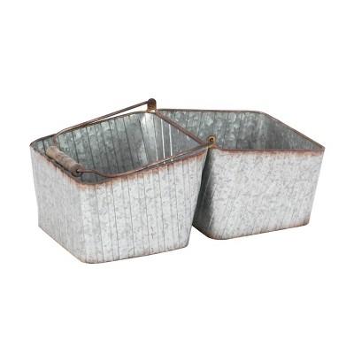 Rectangular Iron Metal Bucket Planter with Handle Silver - Olivia & May