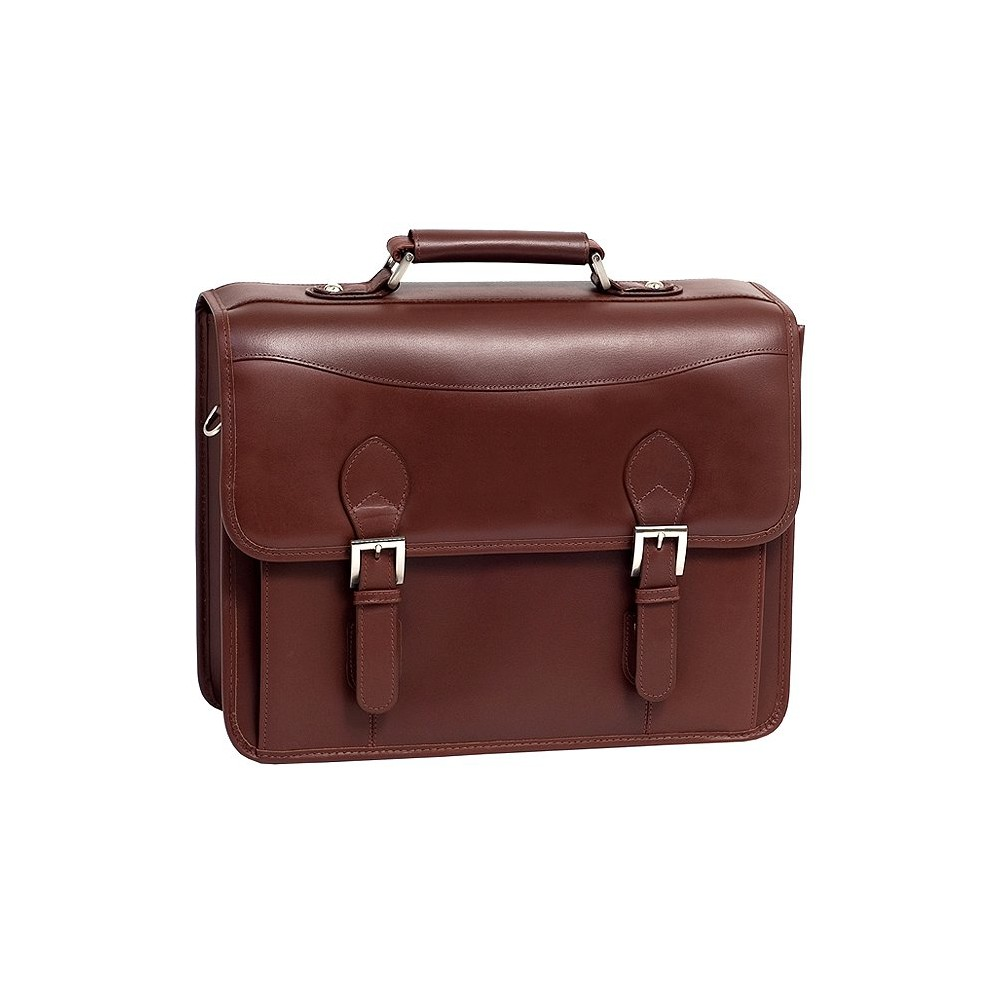 Siamod Belvedere 15 Leather Double Compartment Laptop Briefcase (Cognac (Red))