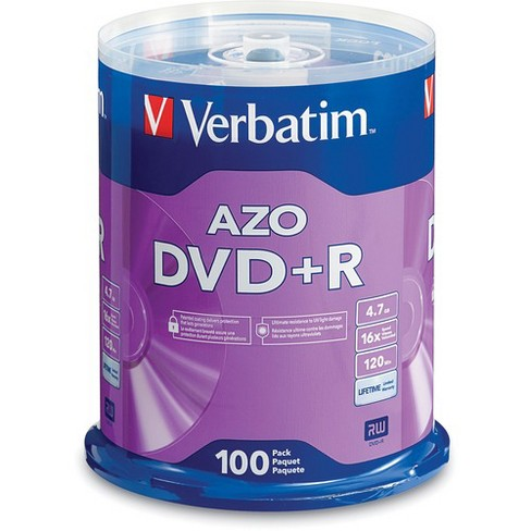 Verbatim AZO DVD+R 4.7GB 16X with Branded Surface - 100pk Spindle - 2 Hour Maximum Recording Time - image 1 of 2