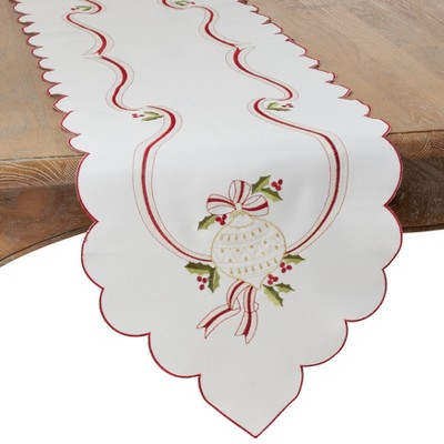 Embroidered Christmas Table Runner Ivory - Saro Lifestyle