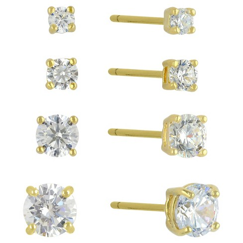 c046d85b6 Cubic Zirconia Set Of 4 Round Stud Earrings With 14k Gold Plating In Sterling  Silver - Gold : Target