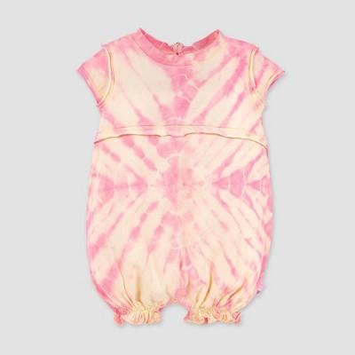 Burt's Bees Baby® Baby Girls' Organic Cotton Peachy Tie-Dye Bubble Romper - Cream 0-3M