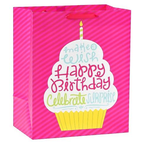 Gift Bag Birthday Cupcake Pink