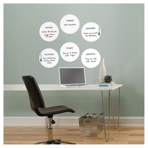 "Wall Pops! ® Dry Erase Board Circle Decals 13"" 6ct - White - image 1 of 2"