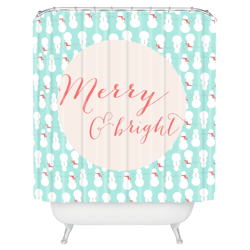 Image of Allyson Johnson Merry And Bright Shower Curtain Blue - Deny Designs