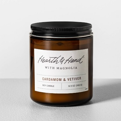 6.5oz Cardamom & Vetiver Amber Glass Jar Candle - Hearth & Hand™ with Magnolia
