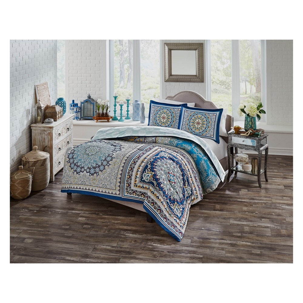Image of Blue Surya Reversible Comforter Set (Twin XL) 2pc - Boho Boutique