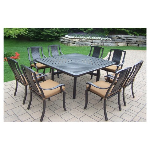 Vanguard 9 Piece Aluminum Stationary Square Patio Dining Furniture