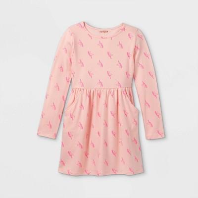 Girls' Printed Long Sleeve Knit Dress - Cat & Jack™