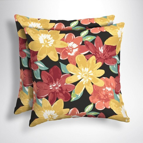 2pk Square Abella Floral Outdoor Throw Pillows Ruby Arden