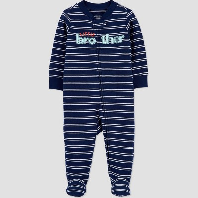 Baby Boys' Striped 'Little Bro' Interlock One Piece Pajama - Just One You® made by carter's Blue 3M