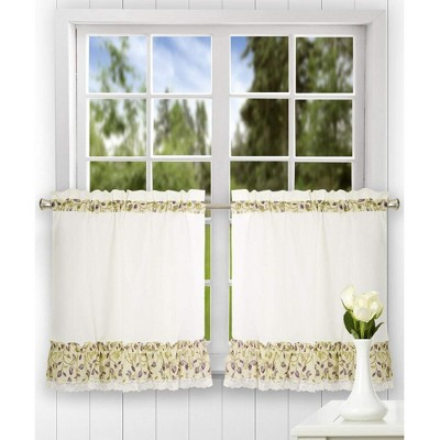 """Ellis Curtain Clarice High Quality Fabric 2-Piece Leafy Branch Patterned Ruffled Tier Pair Window Curtains - 58""""x36"""""""