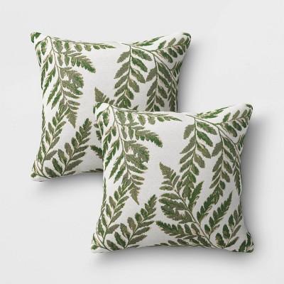 2pk Outdoor Throw Pillows DuraSeason Fabric™ Fern - Threshold™