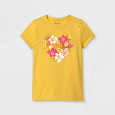 Girls' Floral Heart Graphic Short Sleeve T-Shirt - Cat & Jack™ Light Mustard