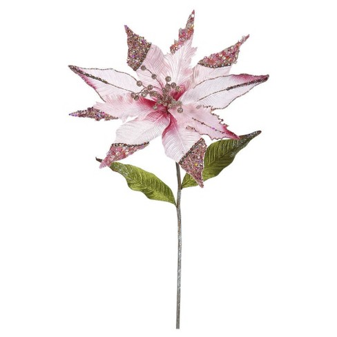 "26"" Christmas Velvet Poinsettia Pink 3 ct - image 1 of 1"