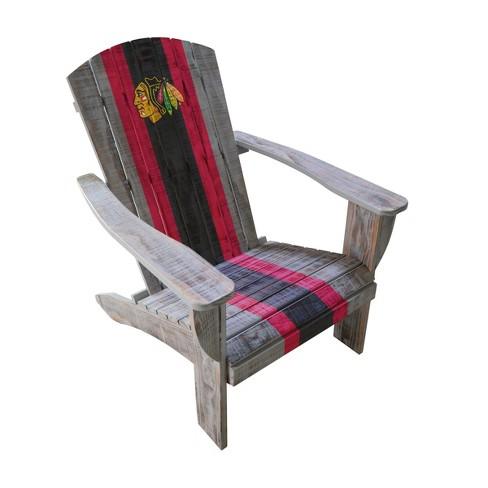 Groovy Nhl Chicago Blackhawks Wooden Adirondack Chair Dailytribune Chair Design For Home Dailytribuneorg