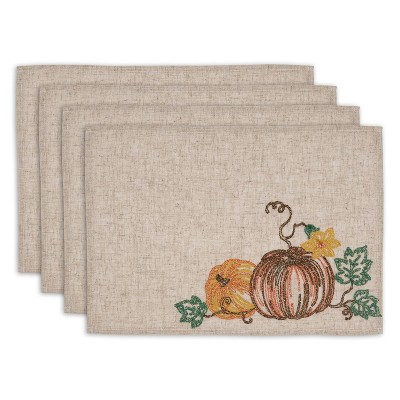 Set of 4 Embroidered Placemat Pumpkins - Design Imports