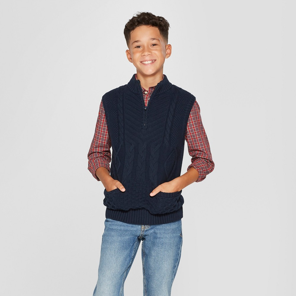 Boys' Sweater Vest Pullover - Cat & Jack Navy XL, Blue