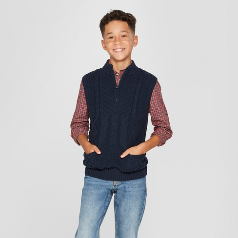 Boys' Sweater Vest Pullover - Cat & Jack™ Navy - image 1 of 3