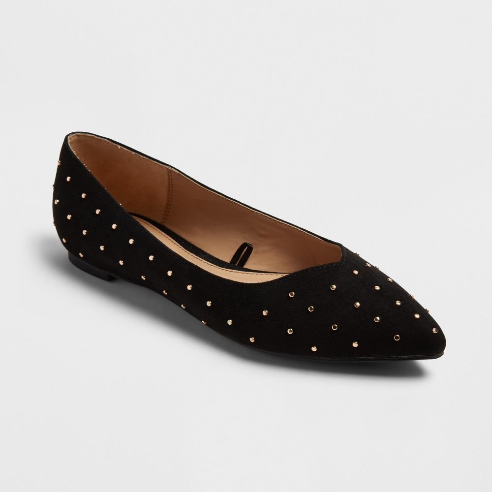 Women's Hillary Pointed Toe Ballet Flats - A New Day Vintage Black 9.5
