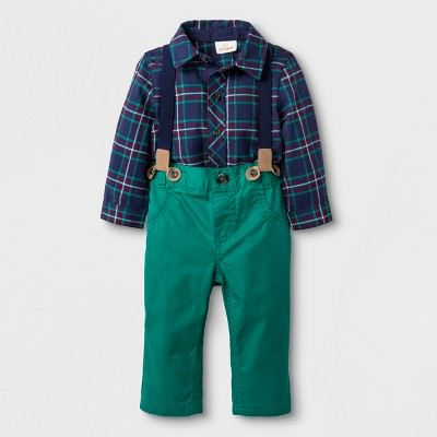 Baby Boys' 2pc Collared Button-Down Flannel Bodysuit and Twill Pants - Cat & Jack™ Blue/Green Newborn