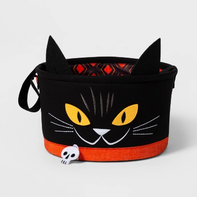 Cat Fabric Halloween Candy Basket Black   Hyde & Eek! Boutique™ by Shop This Collection