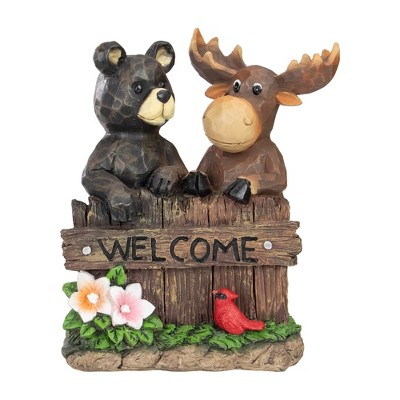 """Northlight 9.5"""" Black Bear and Moose Outdoor Garden """"Welcome"""" Sign"""