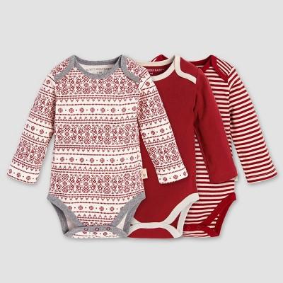 Burt's Bees Baby Organic Cotton 3pk Fair Isle Bodysuit Set - Red 6-9M