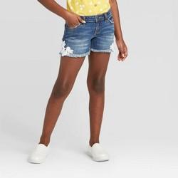 Girls' Side Crochet Jean Shorts - Cat & Jack™ Dark Wash