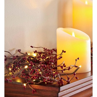 Plow & Hearth - Battery Operated Lighted Holiday Garland, Red