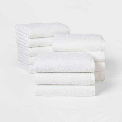12pk Everyday Bath Towel Bundle White - Room Essentials™